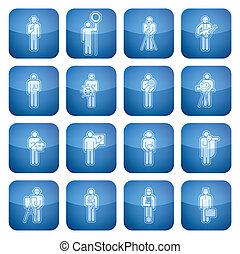 icone, 2d, quadrato, cobalto, occupazione, set: