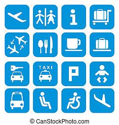 icone, aeroporto, set, -, pictogram