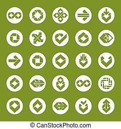 icone affari, astratto, collezione, creativo, vettore, orzaiolo