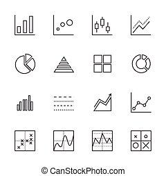 icone affari, grafico, set., linea, icona