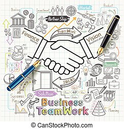 icone, affari, lavoro squadra, set., doodles, concetto