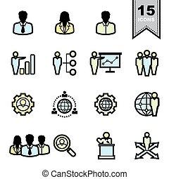 icone, affari, set