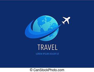 icone, agenzia, viaggiare, simboli, logotipo, turismo, disegno