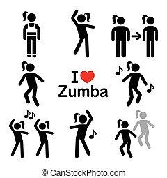 icone, allenamento, idoneità, ballo, zumba