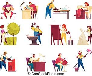 icone, artigiano, set