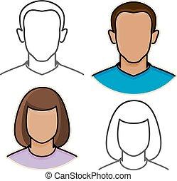 icone, astratto, vettore, avatar, femmina, maschio