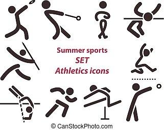 icone, atletica, set