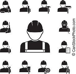 icone, attrezzi, agganciato, differente, lavoratori