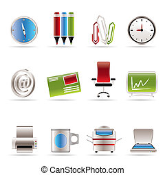 icone, attrezzi, ufficio, affari