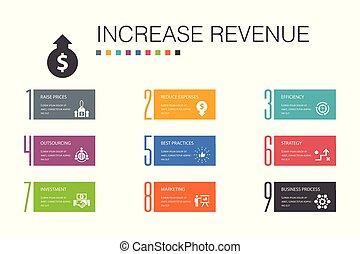 icone, aumento, reddito, ridurre, spese, concept., pratiche, aumento, meglio, strategia, opzione, infographic, semplice, linea, prezzi, 10