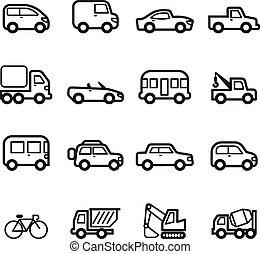 icone, automobile, collezione, set