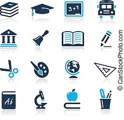 icone, azzurro, serie, //, educazione
