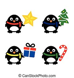icone, carino, pinguino, natale, vettore