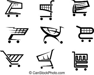 icone, carrello, shopping