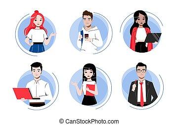 icone, cartone animato, creatività, maschio, style., persone., affari, concept., gruppo, femmina, set., lavoro squadra, contorno, appartamento, caratteri, lineare, illustrazione, multi, vettore, brainstorming, etnico