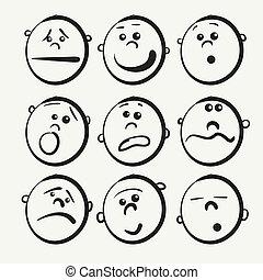 icone, cartone animato, faccia
