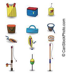 icone, cartone animato, pesca, set
