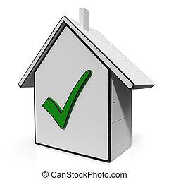 icone, casa, vendita, casa, assegno, mostra