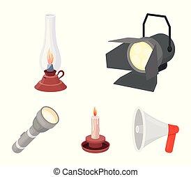 icone, casato, stile, candela, cherosene, riflettore, fonte, simbolo, web., illustrazione, lampada, set, collezione, vettore, luce, cartone animato, flashlight.