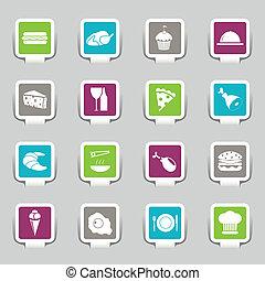 icone, cibo, -, 1, parte, adesivi