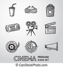 icone, cinema, film, set., vettore, freehand