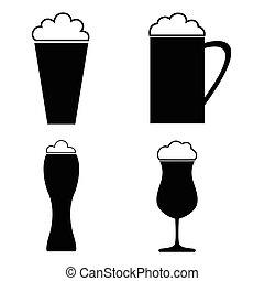 icone, collezione, birra, vettore, vetro., illustrations.