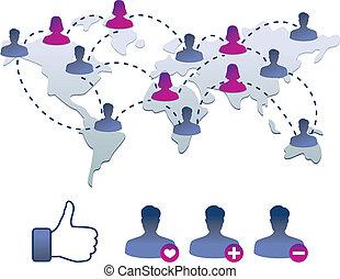 icone, collezione, facebook