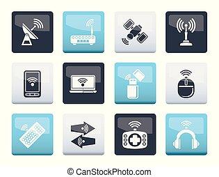 icone, colorare, comunicazione, sopra, fili, fondo, tecnologia