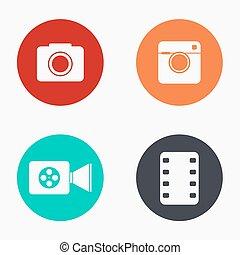 icone, colorito, macchina fotografica, moderno, set, vettore