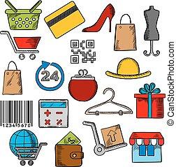 icone, commercio, vendita dettaglio fa spese