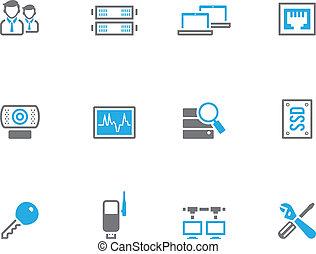 icone, computer, -, duotone, rete