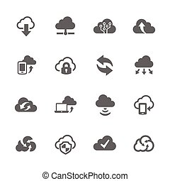 icone, computer, nuvola, semplice