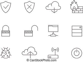 icone, computer, -, rete, contorno