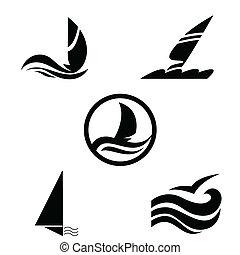 icone, con, il, immagine, di, yacht