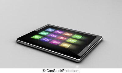icone, con, tavoletta digitale