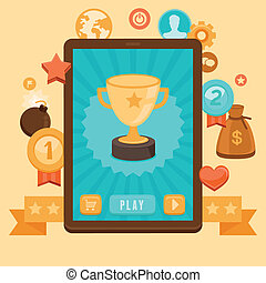 icone concetto, -, vettore, gamification, realizzazione