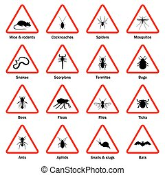 icone, controllo, peste, set., insetto