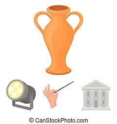 icone, costruzione, stile, teatro, casato, riflettore, simbolo, web., illustrazione, teatro, amphora., conductor's, set, collezione, vettore, cartone animato, bacchetta