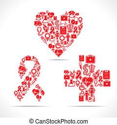 icone, cuore, fare, aiuti, medico, croce