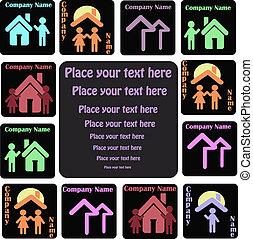 icone, di, persone, con, case