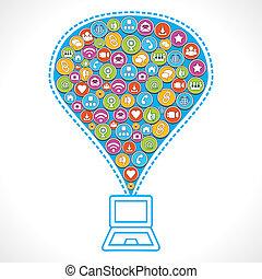 icone, differente, fare, sociale, media