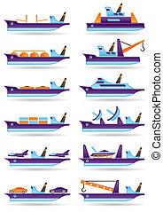 icone, differente, navi, set, carico