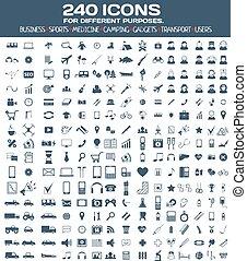 icone, differente, set, purposes., grande