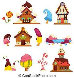 icone, dolce, caramella, case, vettore, albero, cartone animato