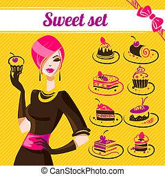 icone, dolce, set, torte