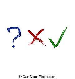 icone, domanda, marchio, spazzola, assegno, x-letter