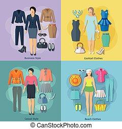 icone, donna, quadrato, set, concetto, vestiti