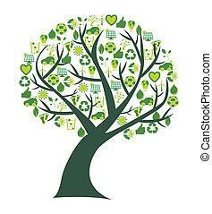 icone, eco, albero, bio, simboli, ambientale, sostituito, mette foglie, concettuale, dove