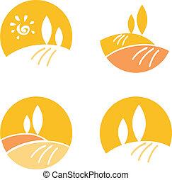 icone, elementi, astratto, arancia, /, -, disegno panorama, &, paese