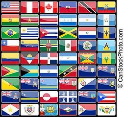 icone, elementi, bandiere, continente, disegno, america.